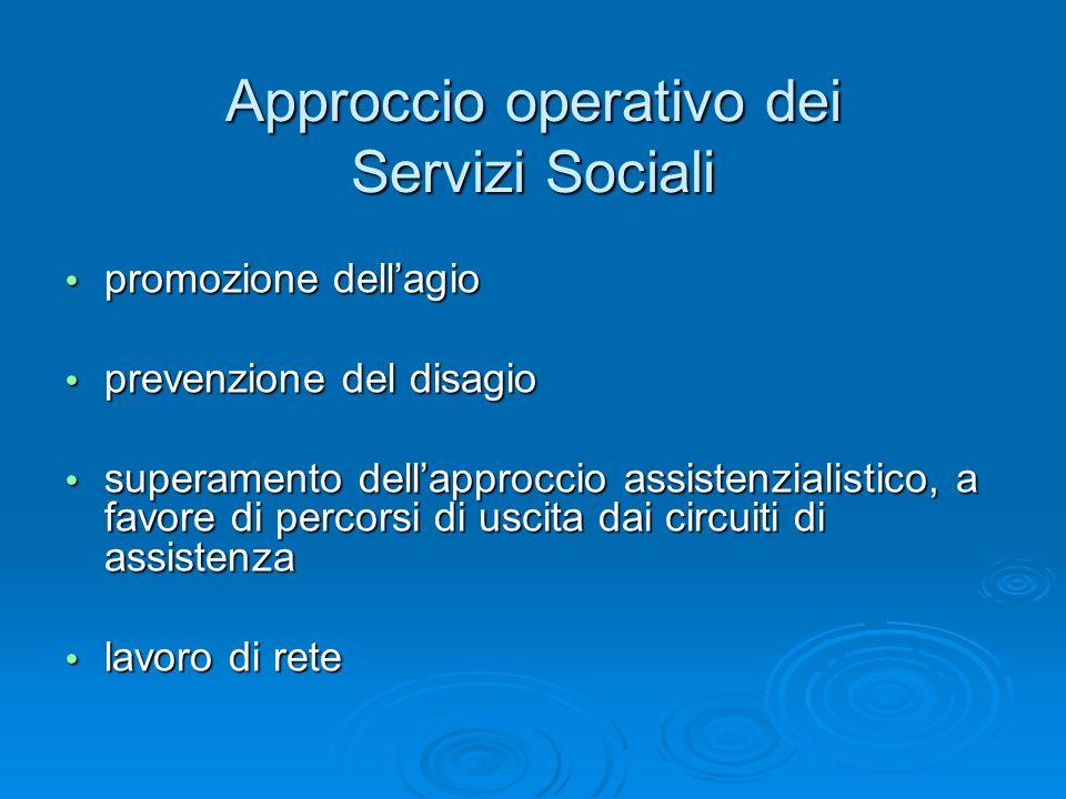 Approccio operativo dei Servizi Sociali promozione dellagio promozione dellagio prevenzione del disagio prevenzione del disagio superamento dellapproc