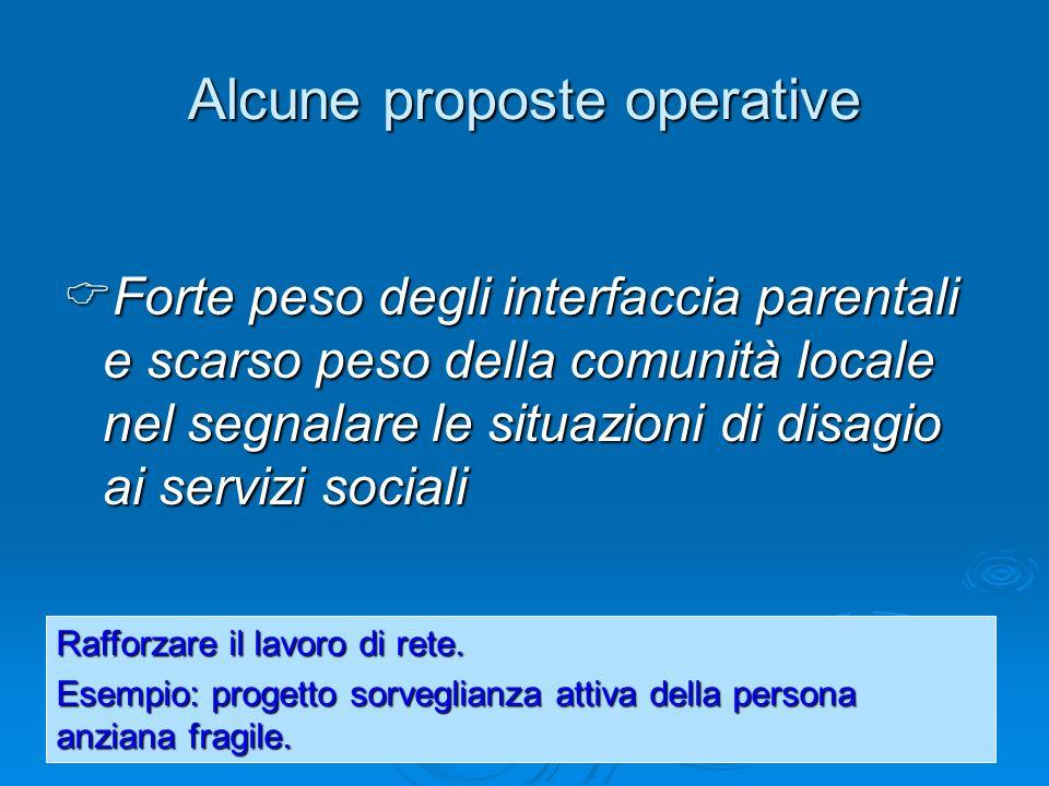 Alcune proposte operative Forte peso degli interfaccia parentali e scarso peso della comunità locale nel segnalare le situazioni di disagio ai servizi