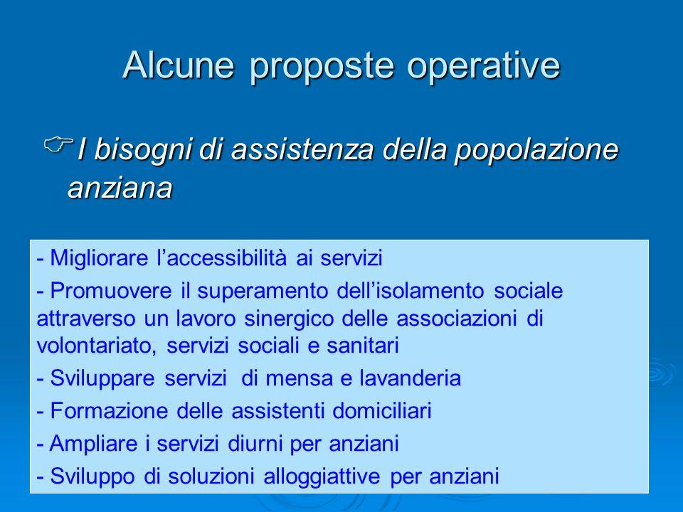 Alcune proposte operative I bisogni di assistenza della popolazione anziana I bisogni di assistenza della popolazione anziana - Migliorare laccessibil