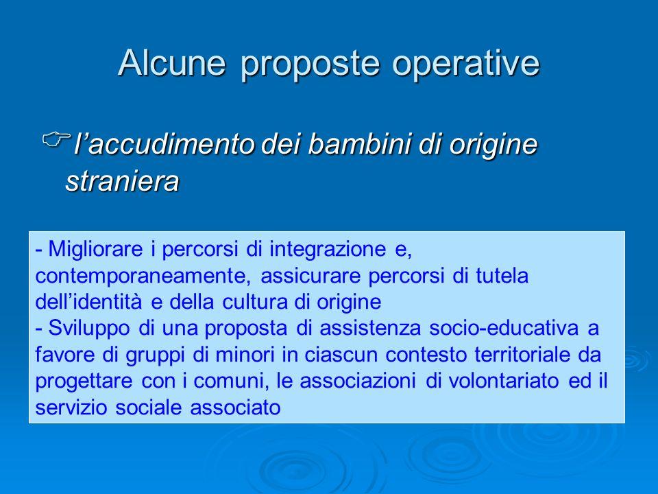 Alcune proposte operative laccudimento dei bambini di origine straniera laccudimento dei bambini di origine straniera - Migliorare i percorsi di integ