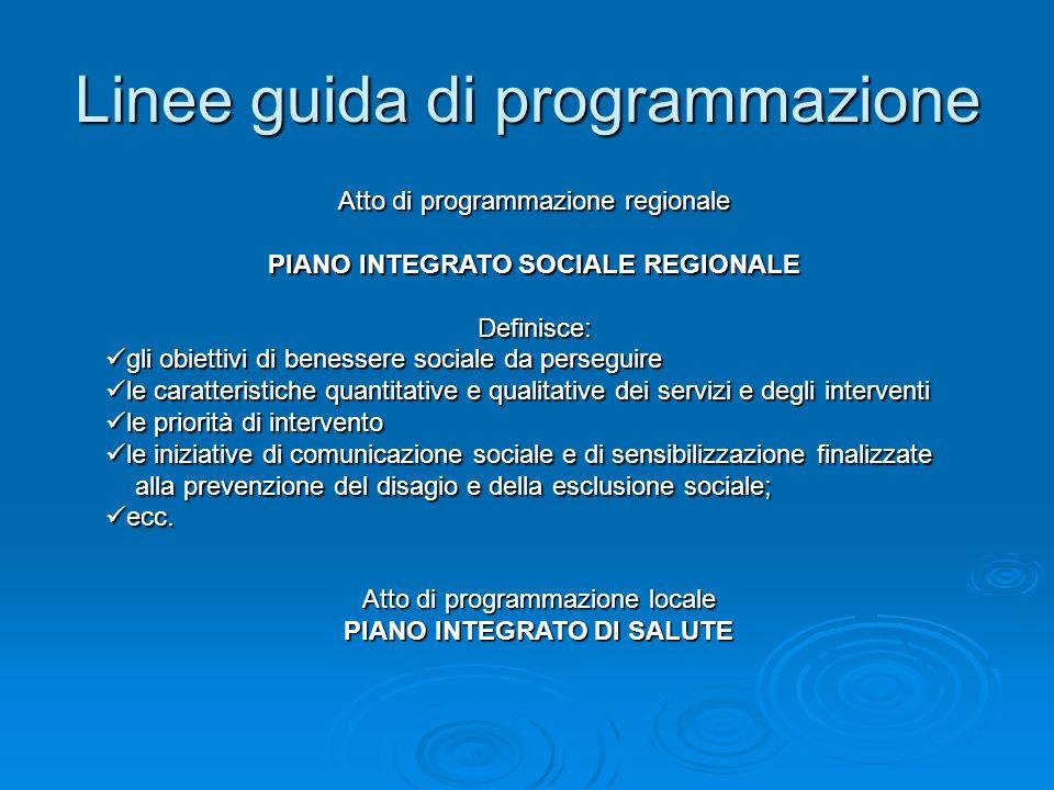 Linee guida di programmazione Atto di programmazione regionale PIANO INTEGRATO SOCIALE REGIONALE Definisce: gli obiettivi di benessere sociale da pers