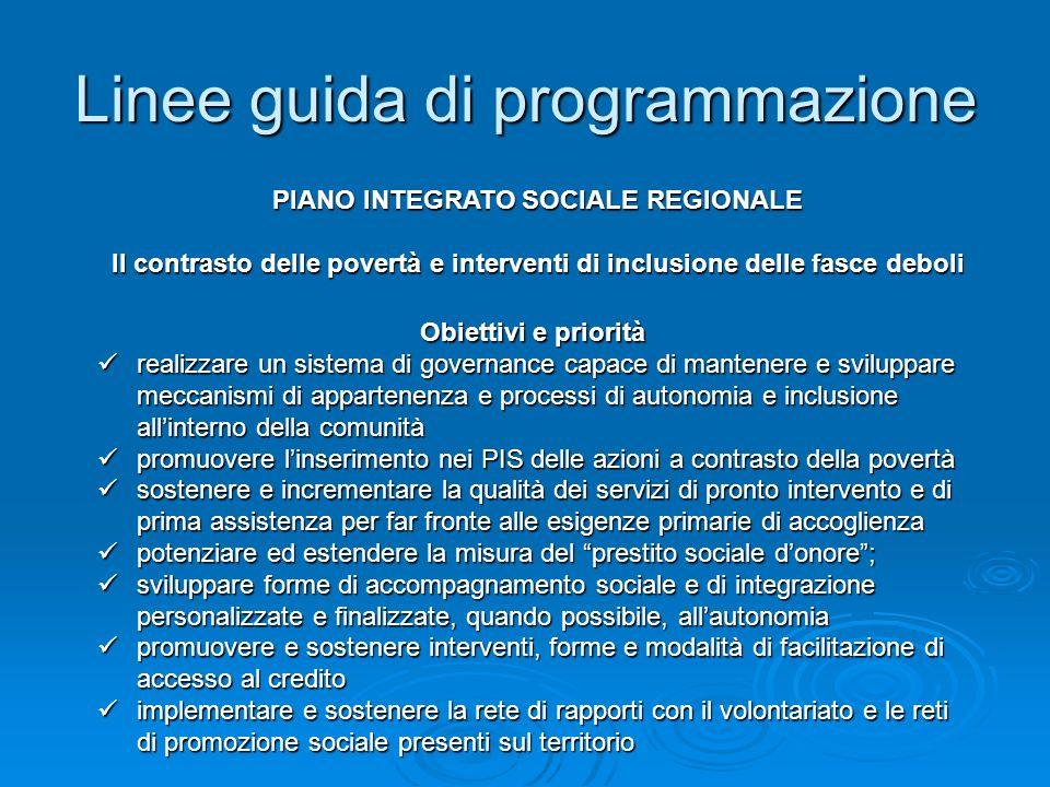 Linee guida di programmazione Obiettivi e priorità realizzare un sistema di governance capace di mantenere e sviluppare meccanismi di appartenenza e p