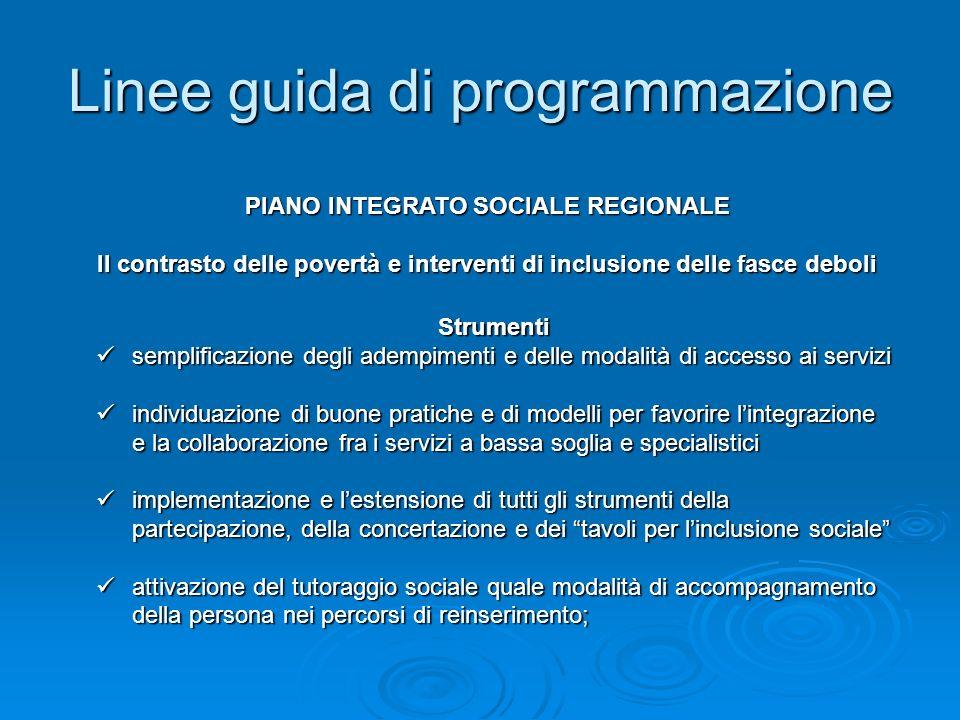 Linee guida di programmazione Strumenti semplificazione degli adempimenti e delle modalità di accesso ai servizi semplificazione degli adempimenti e d