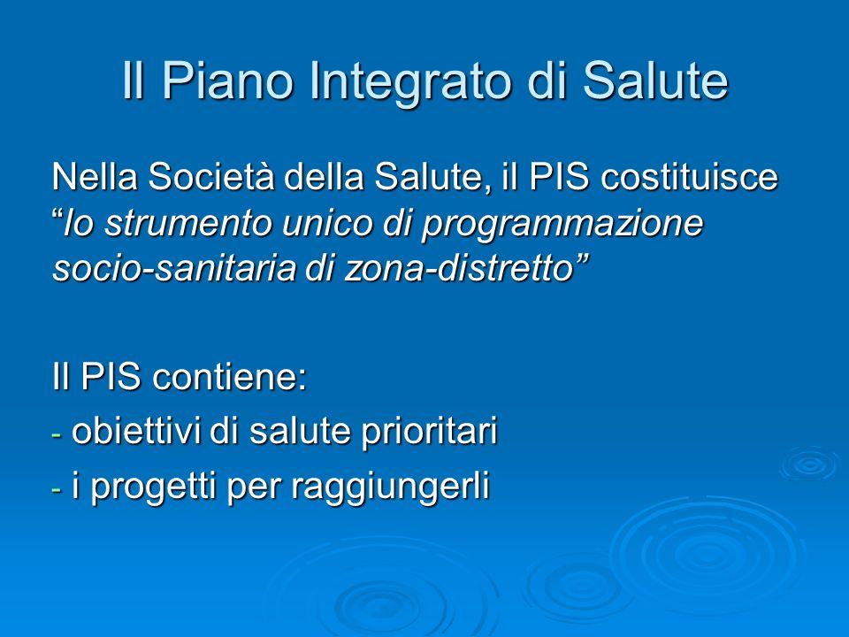 Il Piano Integrato di Salute Nella Società della Salute, il PIS costituiscelo strumento unico di programmazione socio-sanitaria di zona-distretto Il P