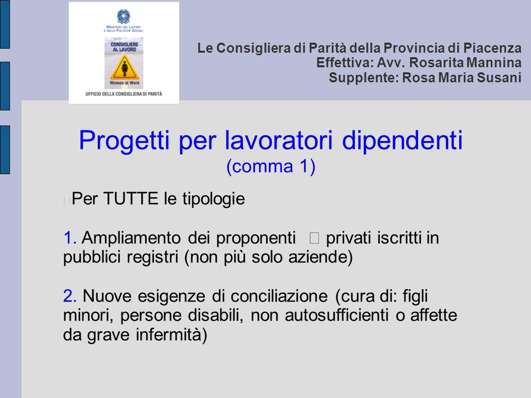 Le Consigliera di Parità della Provincia di Piacenza Effettiva: Avv.