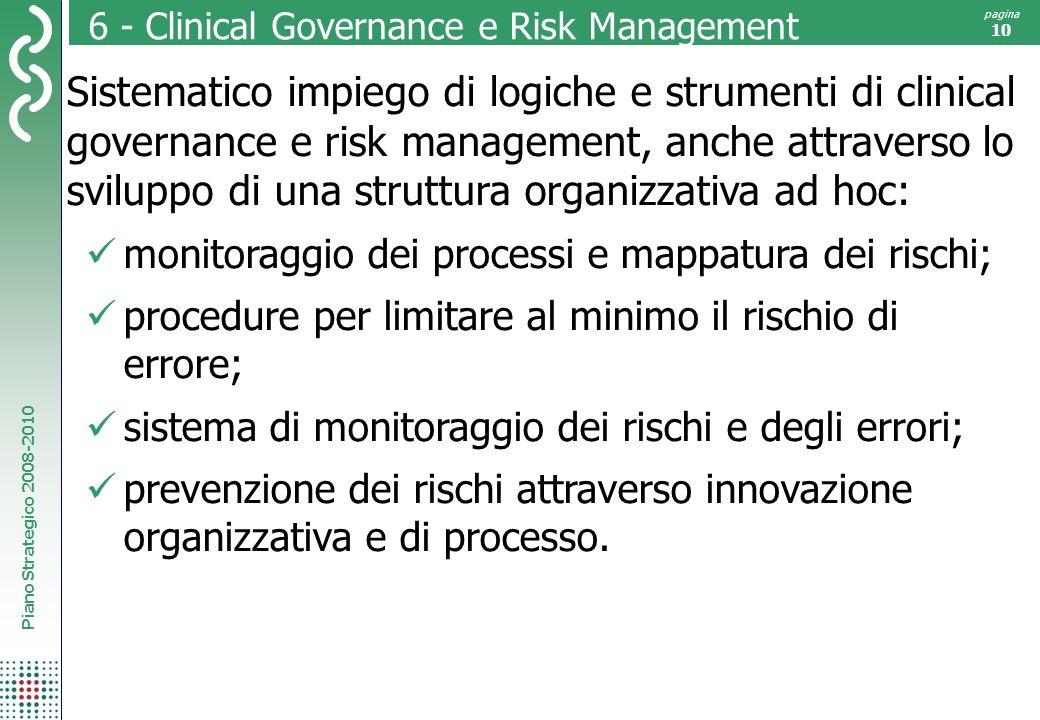 Piano Strategico 2008-2010 pagina 10 6 - Clinical Governance e Risk Management Sistematico impiego di logiche e strumenti di clinical governance e ris