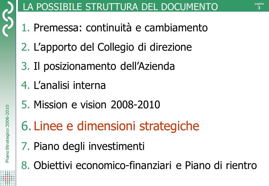 Piano Strategico 2008-2010 pagina 3 LA POSSIBILE STRUTTURA DEL DOCUMENTO 1.Premessa: continuità e cambiamento 2.Lapporto del Collegio di direzione 3.I