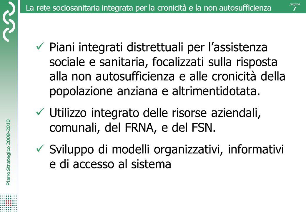 Piano Strategico 2008-2010 pagina 7 La rete sociosanitaria integrata per la cronicità e la non autosufficienza Piani integrati distrettuali per lassis