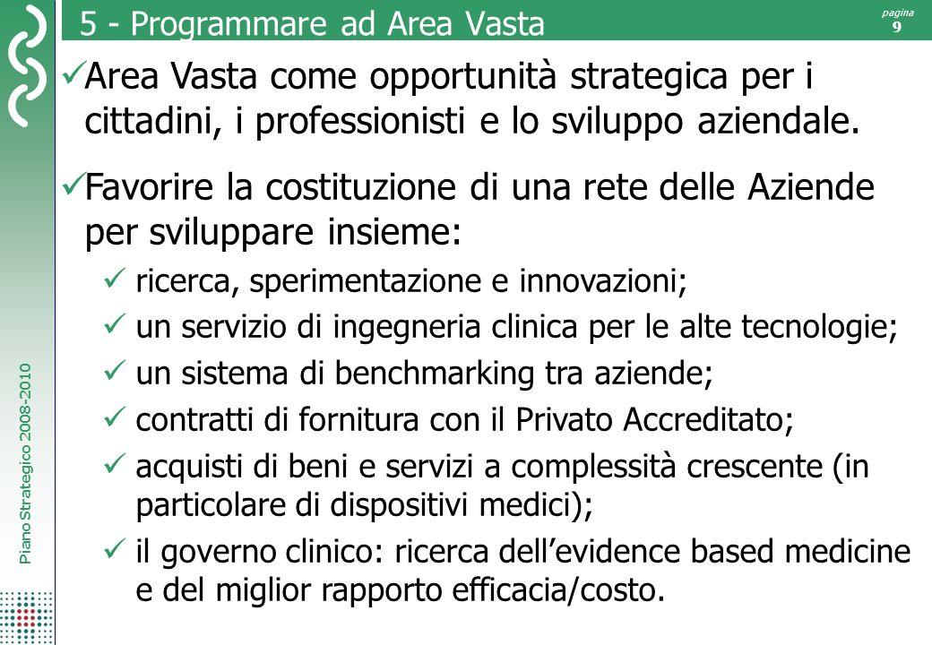 Piano Strategico 2008-2010 pagina 9 5 - Programmare ad Area Vasta Area Vasta come opportunità strategica per i cittadini, i professionisti e lo sviluppo aziendale.