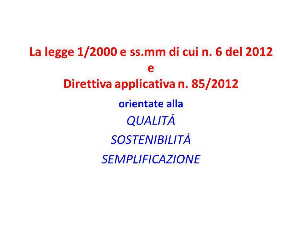 La legge 1/2000 e ss.mm di cui n. 6 del 2012 e Direttiva applicativa n. 85/2012 orientate alla QUALITȦ SOSTENIBILITȦ SEMPLIFICAZIONE