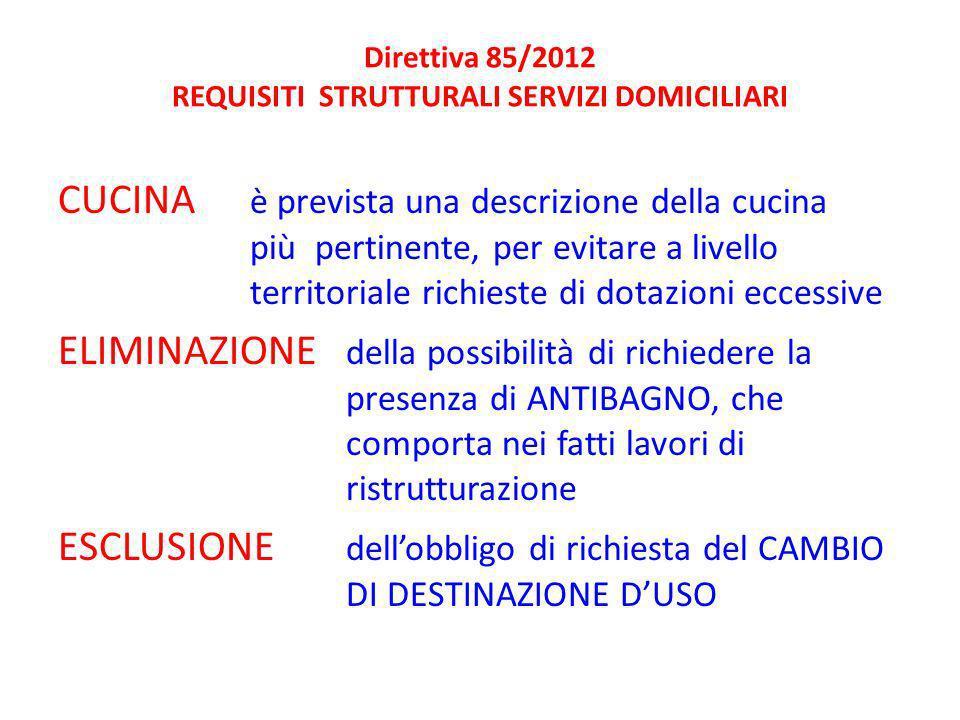 Direttiva 85/2012 REQUISITI STRUTTURALI SERVIZI DOMICILIARI CUCINA è prevista una descrizione della cucina più pertinente, per evitare a livello territoriale richieste di dotazioni eccessive ELIMINAZIONE della possibilità di richiedere la presenza di ANTIBAGNO, che comporta nei fatti lavori di ristrutturazione ESCLUSIONE dellobbligo di richiesta del CAMBIO DI DESTINAZIONE DUSO