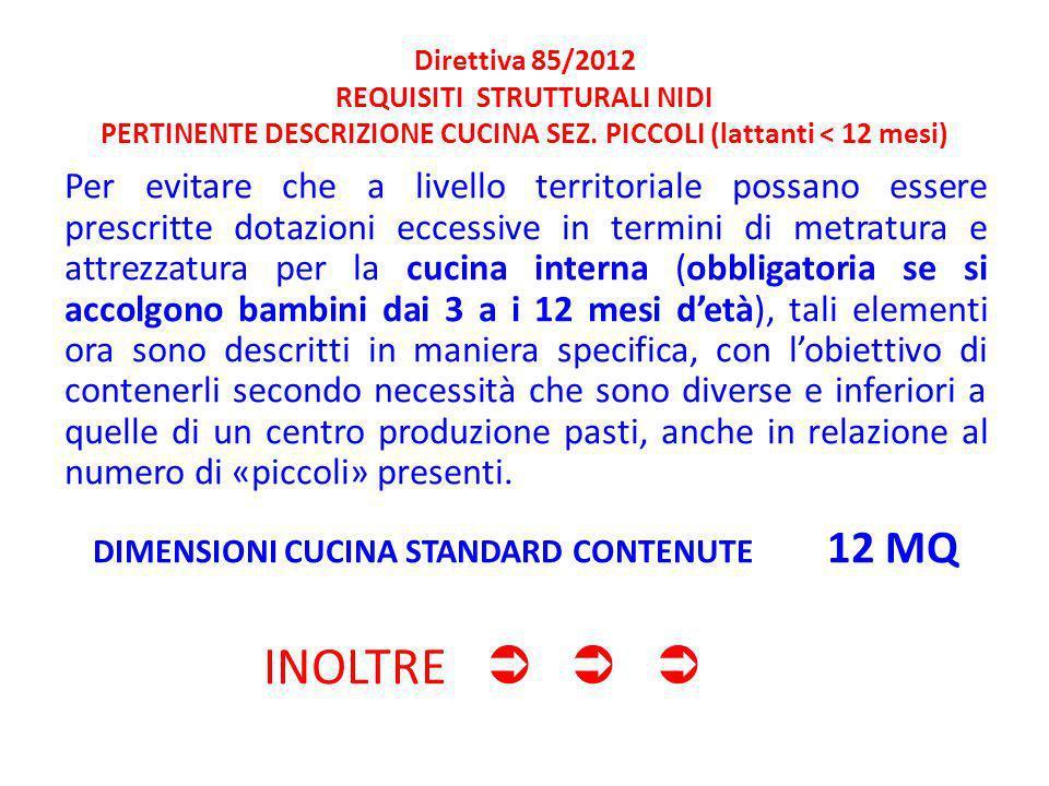 Direttiva 85/2012 REQUISITI STRUTTURALI NIDI PERTINENTE DESCRIZIONE CUCINA SEZ.