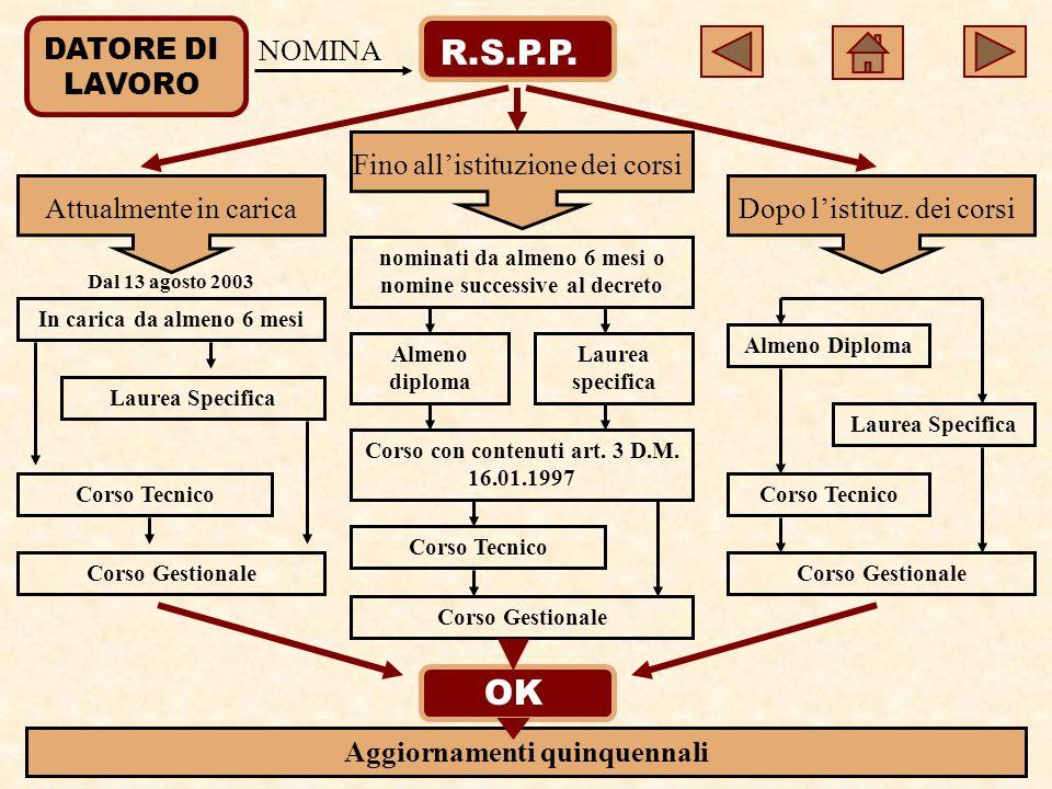DATORE DI LAVORO R.S.P.P.NOMINA Attualmente in carica Fino allistituzione dei corsi Dopo listituz.