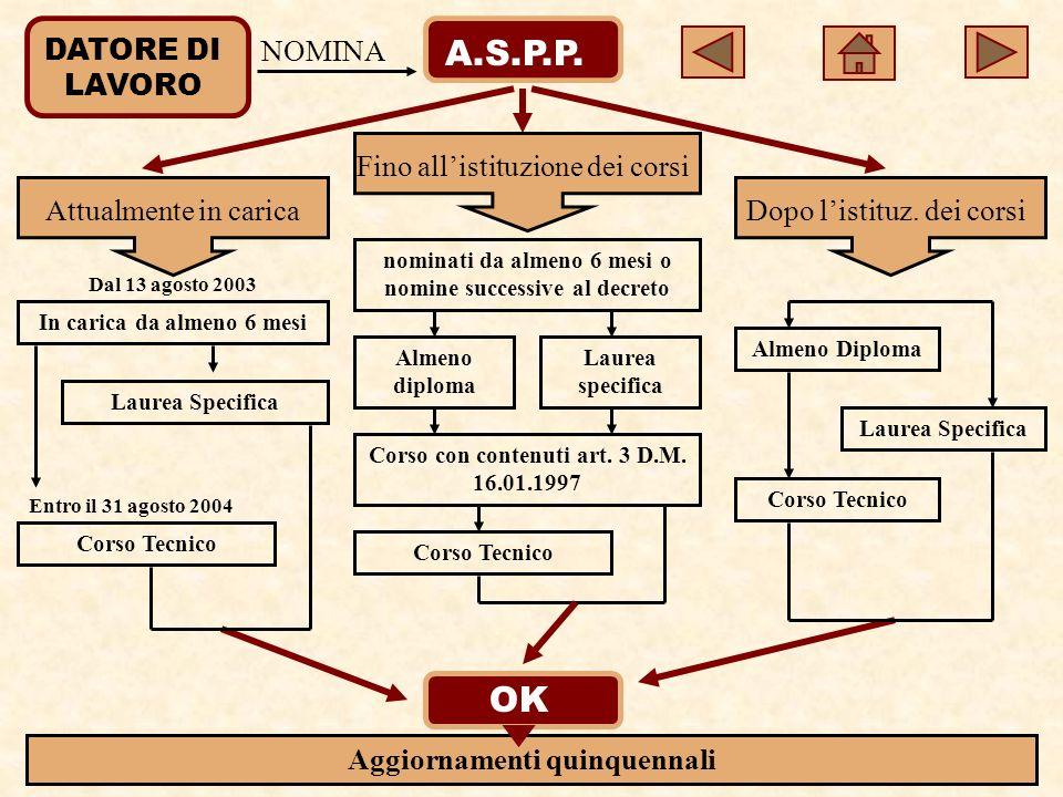 DATORE DI LAVORO A.S.P.P.NOMINA Attualmente in carica Fino allistituzione dei corsi Dopo listituz.