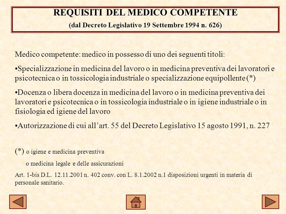 REQUISITI DEL MEDICO COMPETENTE (dal Decreto Legislativo 19 Settembre 1994 n.