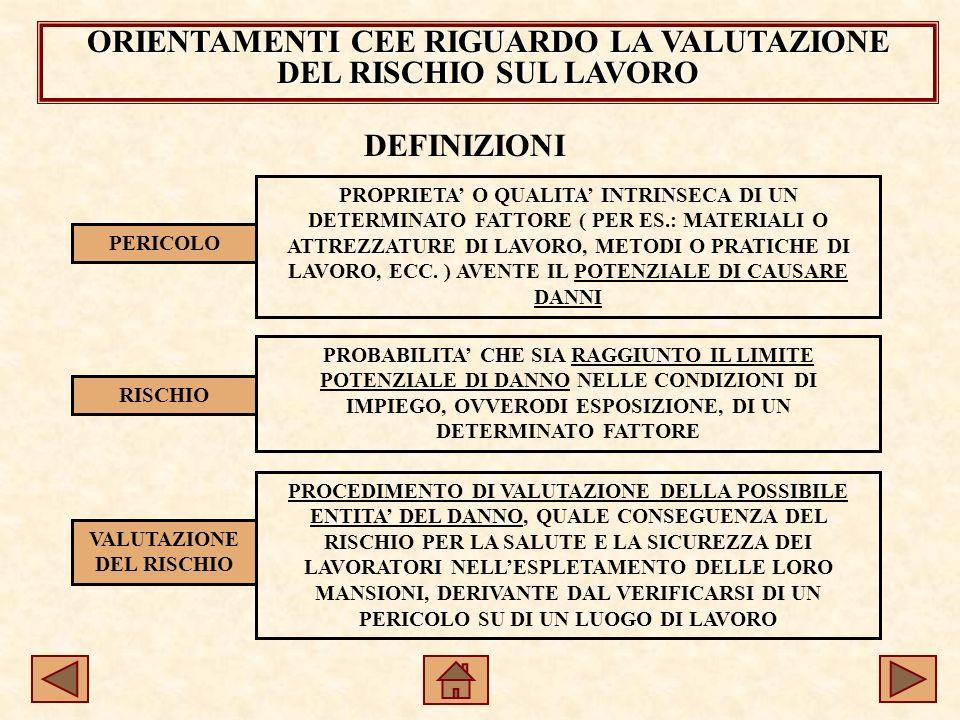 ORIENTAMENTI CEE RIGUARDO LA VALUTAZIONE DEL RISCHIO SUL LAVORO DEFINIZIONI PERICOLO RISCHIO VALUTAZIONE DEL RISCHIO PROPRIETA O QUALITA INTRINSECA DI UN DETERMINATO FATTORE ( PER ES.: MATERIALI O ATTREZZATURE DI LAVORO, METODI O PRATICHE DI LAVORO, ECC.