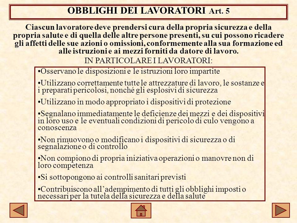 OBBLIGHI DEI LAVORATORI Art.