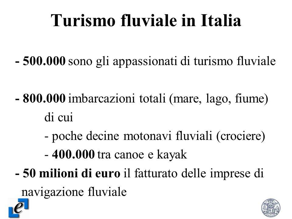 Turismo fluviale in Italia - 500.000 sono gli appassionati di turismo fluviale - 800.000 imbarcazioni totali (mare, lago, fiume) di cui - poche decine