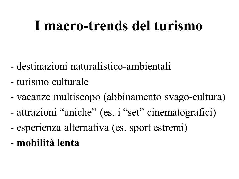 I macro-trends del turismo - destinazioni naturalistico-ambientali - turismo culturale - vacanze multiscopo (abbinamento svago-cultura) - attrazioni u