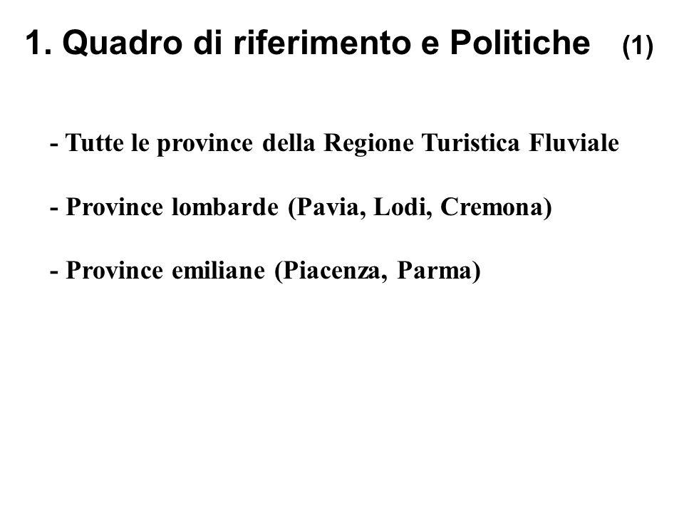 1. Quadro di riferimento e Politiche (1) - Tutte le province della Regione Turistica Fluviale - Province lombarde (Pavia, Lodi, Cremona) - Province em