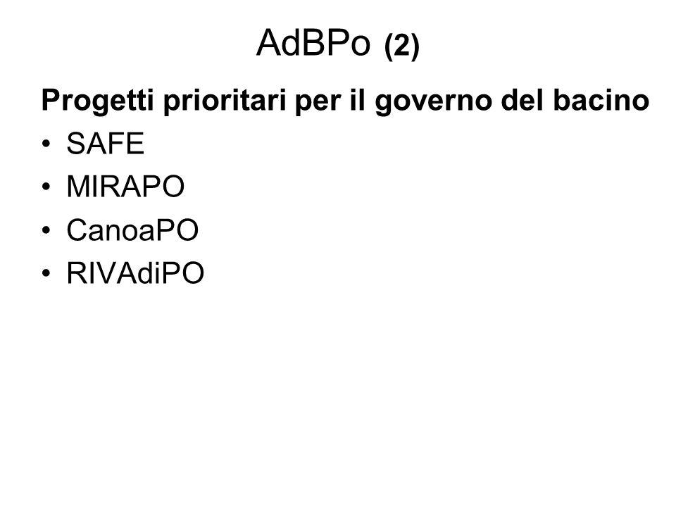AdBPo (2) Progetti prioritari per il governo del bacino SAFE MIRAPO CanoaPO RIVAdiPO