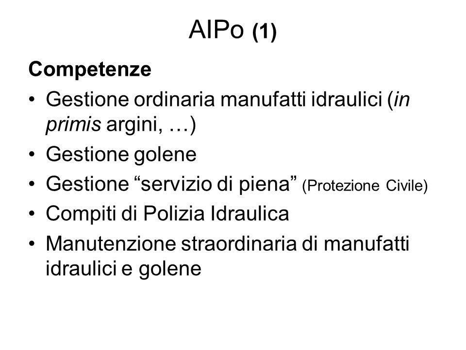 AIPo (2) Fonti di finanziamento Ministeri (LLPP, Ambiente, Agricoltura) Quota concessioni terreni demaniali Quota derivazioni da corpi idrici (solo in Lombardia ammonta annualmente a 25 ml euro)