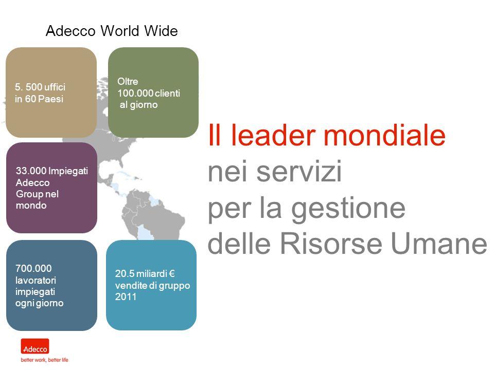 Il leader mondiale nei servizi per la gestione delle Risorse Umane Adecco World Wide 5. 500 uffici in 60 Paesi Oltre 100.000 clienti al giorno 33.000