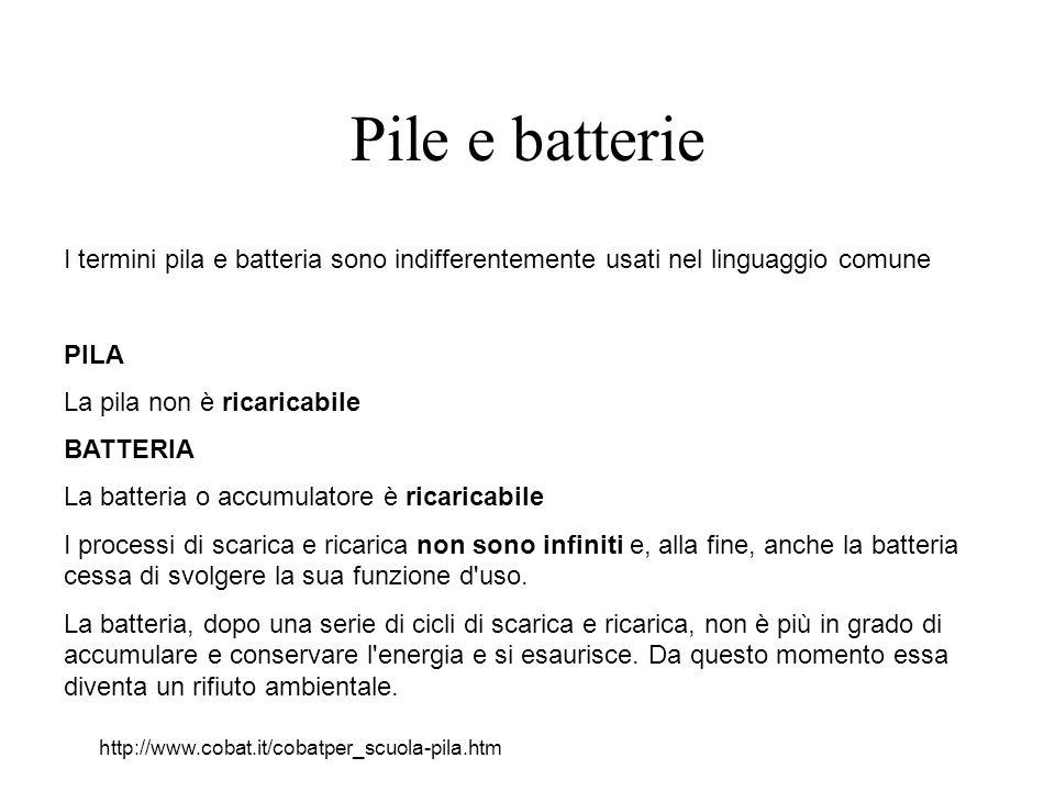 Pile e batterie I termini pila e batteria sono indifferentemente usati nel linguaggio comune PILA La pila non è ricaricabile BATTERIA La batteria o accumulatore è ricaricabile I processi di scarica e ricarica non sono infiniti e, alla fine, anche la batteria cessa di svolgere la sua funzione d uso.