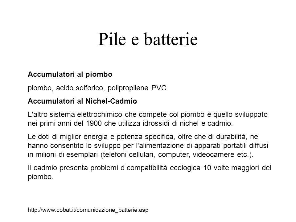 Pile e batterie Accumulatori al piombo piombo, acido solforico, polipropilene PVC Accumulatori al Nichel-Cadmio L altro sistema elettrochimico che compete col piombo è quello sviluppato nei primi anni del 1900 che utilizza idrossidi di nichel e cadmio.