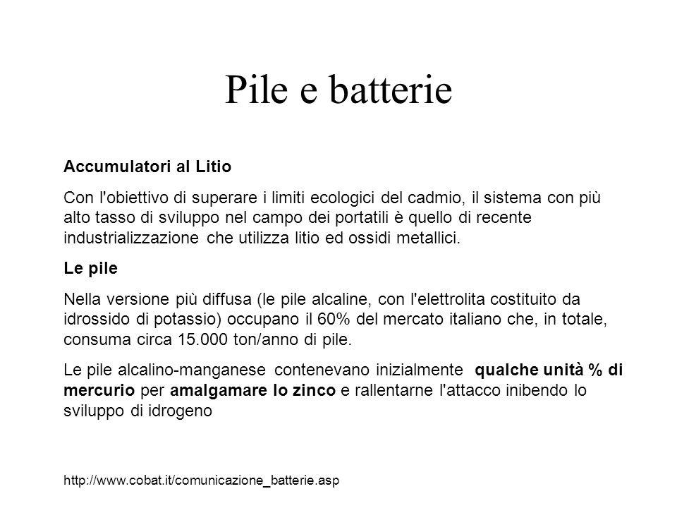 Pile e batterie Accumulatori al Litio Con l obiettivo di superare i limiti ecologici del cadmio, il sistema con più alto tasso di sviluppo nel campo dei portatili è quello di recente industrializzazione che utilizza litio ed ossidi metallici.