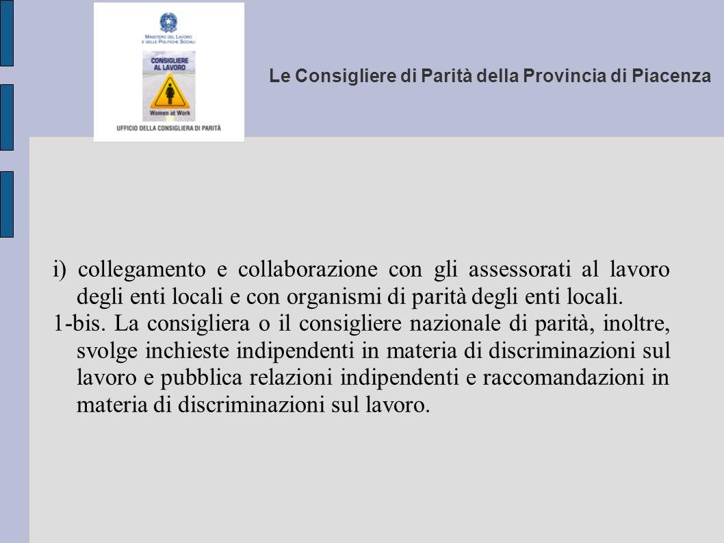 Le Consigliere di Parità della Provincia di Piacenza i) collegamento e collaborazione con gli assessorati al lavoro degli enti locali e con organismi