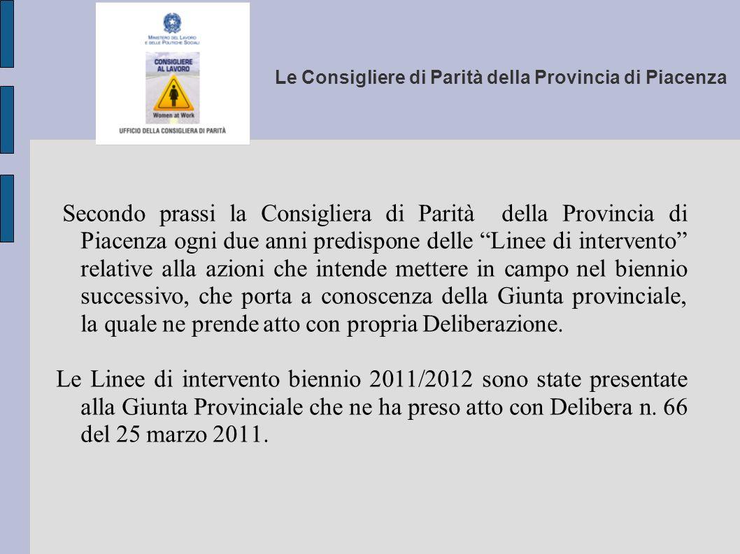 Le Consigliere di Parità della Provincia di Piacenza Secondo prassi la Consigliera di Parità della Provincia di Piacenza ogni due anni predispone dell