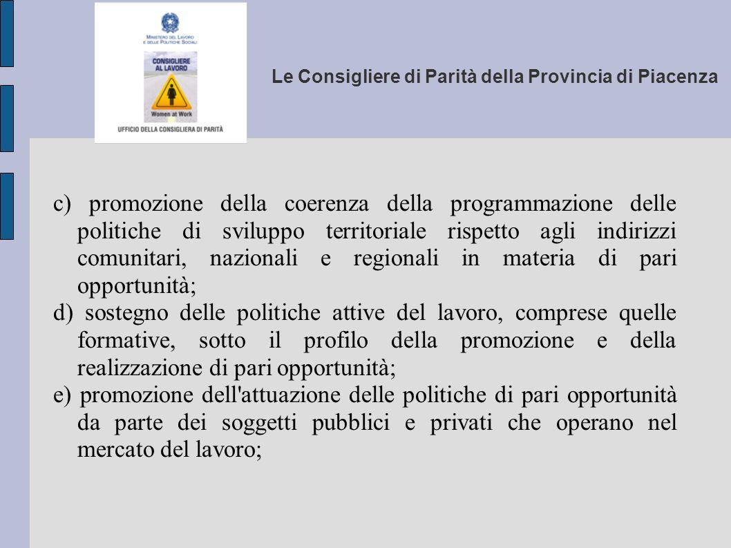 Le Consigliere di Parità della Provincia di Piacenza c) promozione della coerenza della programmazione delle politiche di sviluppo territoriale rispet