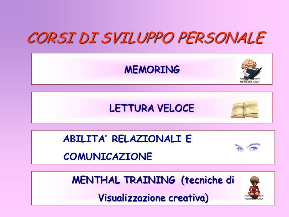 CORSI DI SVILUPPO PERSONALE MEMORING MENTHAL TRAINING (tecniche di Visualizzazione creativa) ABILITA RELAZIONALI E COMUNICAZIONE LETTURA VELOCE