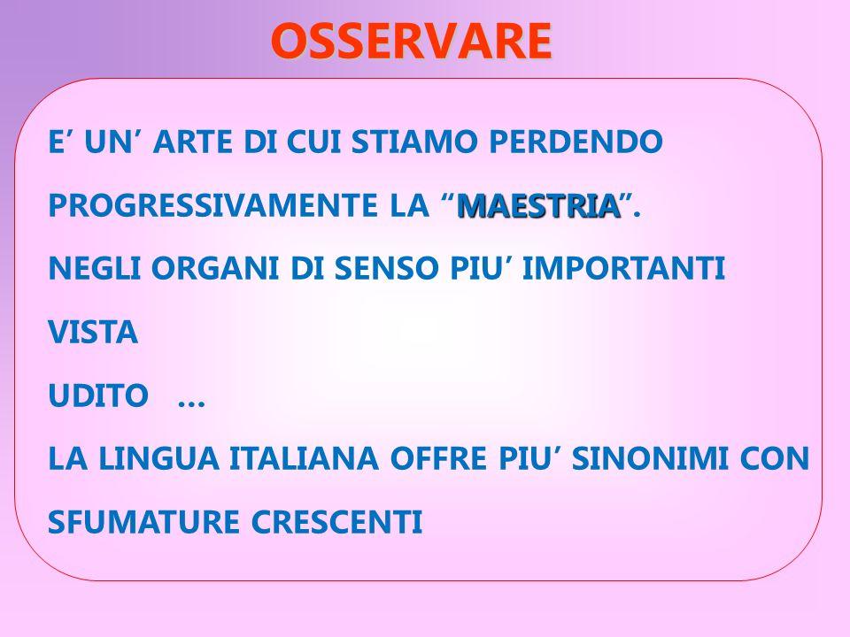 OSSERVARE E UN ARTE DI CUI STIAMO PERDENDO MAESTRIA PROGRESSIVAMENTE LA MAESTRIA. NEGLI ORGANI DI SENSO PIU IMPORTANTI VISTA UDITO … LA LINGUA ITALIAN