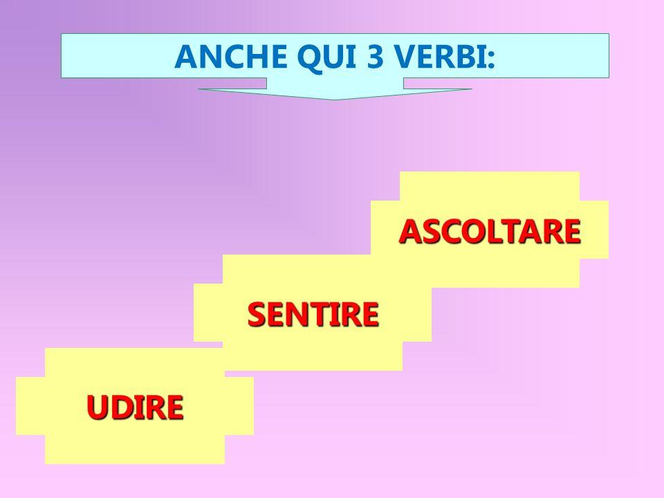 UDIRE SENTIRE ASCOLTARE ANCHE QUI 3 VERBI: