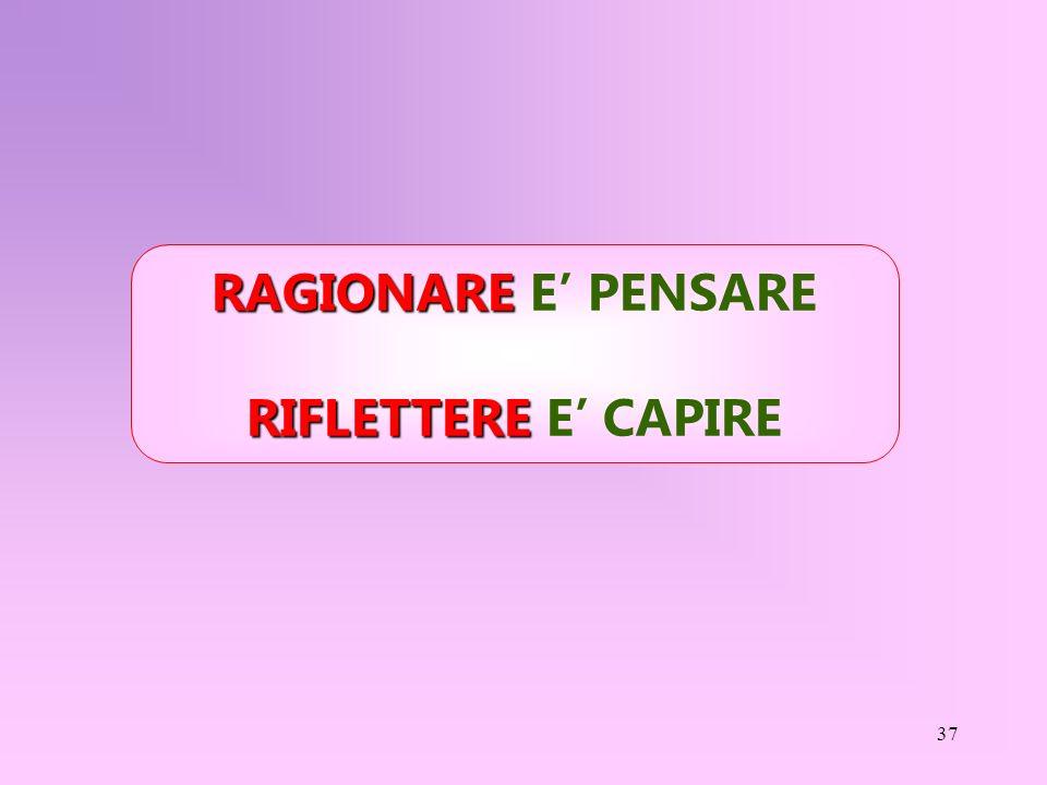 37 RAGIONARE RAGIONARE E PENSARE RIFLETTERE RIFLETTERE E CAPIRE