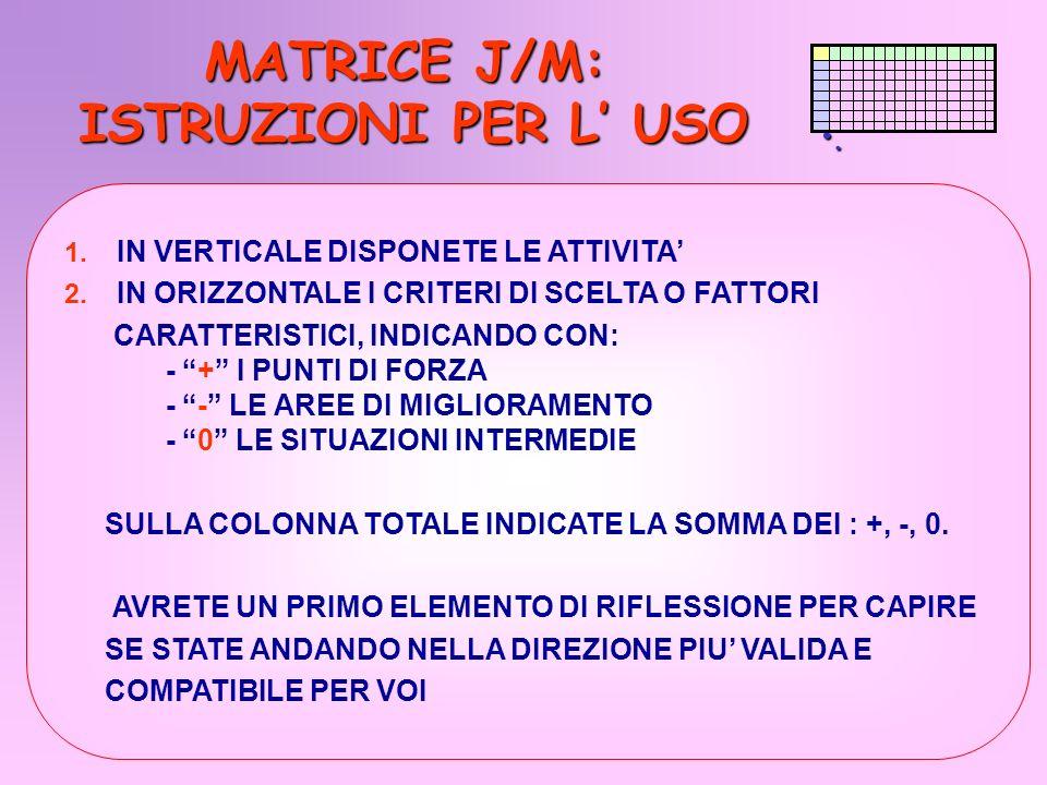 . MATRICE J/M: ISTRUZIONI PER L USO MATRICE J/M: ISTRUZIONI PER L USO 1. IN VERTICALE DISPONETE LE ATTIVITA 2. IN ORIZZONTALE I CRITERI DI SCELTA O FA