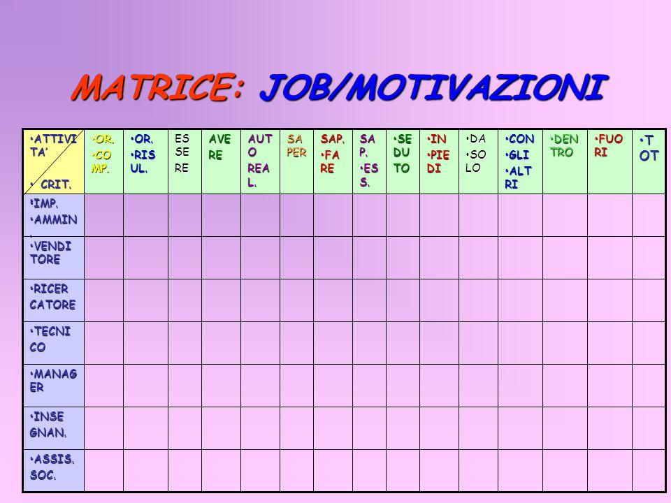 MATRICE: JOB/MOTIVAZIONI