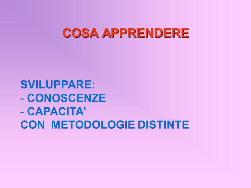 COSA APPRENDERE SVILUPPARE: - CONOSCENZE - CAPACITA CON METODOLOGIE DISTINTE