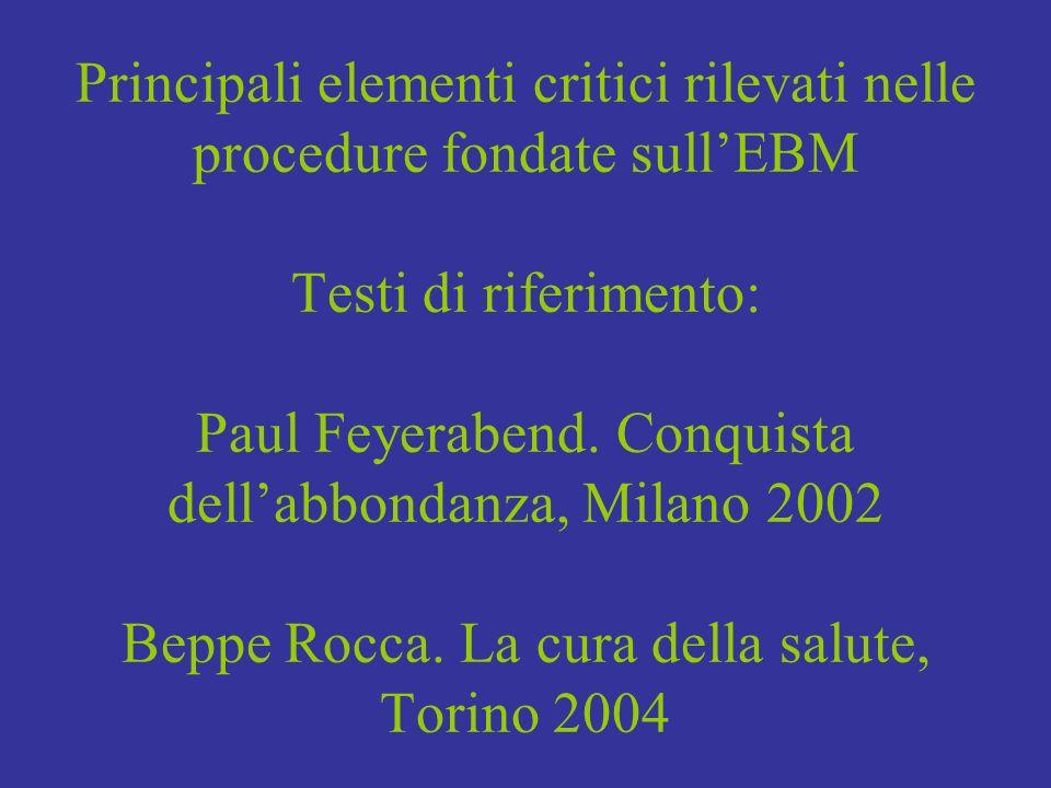 Principali elementi critici rilevati nelle procedure fondate sullEBM Testi di riferimento: Paul Feyerabend. Conquista dellabbondanza, Milano 2002 Bepp