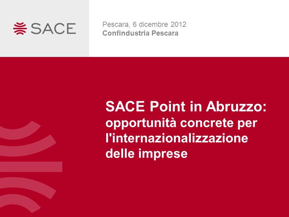 SACE Point in Abruzzo: opportunità concrete per l'internazionalizzazione delle imprese Pescara, 6 dicembre 2012 Confindustria Pescara