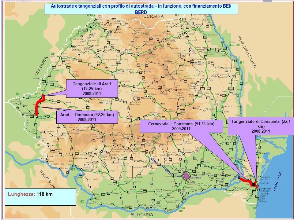 Cernavoda – Constanta (51,31 km) 2009-2011 Tangenziale di Constanta (22,1 km) 2008-2011 Autostrade e tangenziali con profilo di autostrada – in funzio