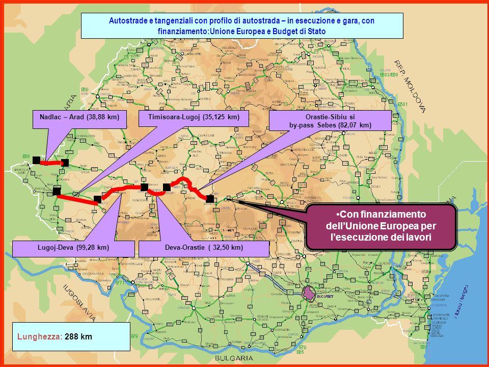 Nadlac – Arad (38,88 km) Lugoj-Deva (99,28 km) Deva-Orastie ( 32,50 km) Orastie-Sibiu si by-pass Sebes (82,07 km) Lunghezza: 288 km Timisoara-Lugoj (3
