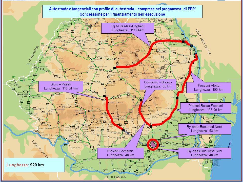 By-pass Bucuresti Nord Lunghezza: 53 km By-pass Bucuresti Sud Lunghezza: 48 km Ploiesti-Comarnic Lunghezza: 48 km Ploiesti-Buzau-Focsani Lunghezza: 13