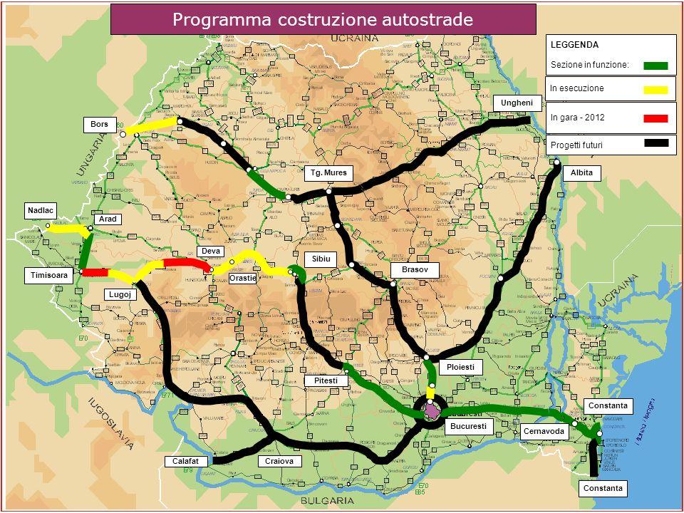 Progetti futuri Bucuresti In esecuzione In gara - 2012 LEGGENDA Sezione in funzione: Programma costruzione autostrade Nadlac Timisoara Bors Sibiu Bucu