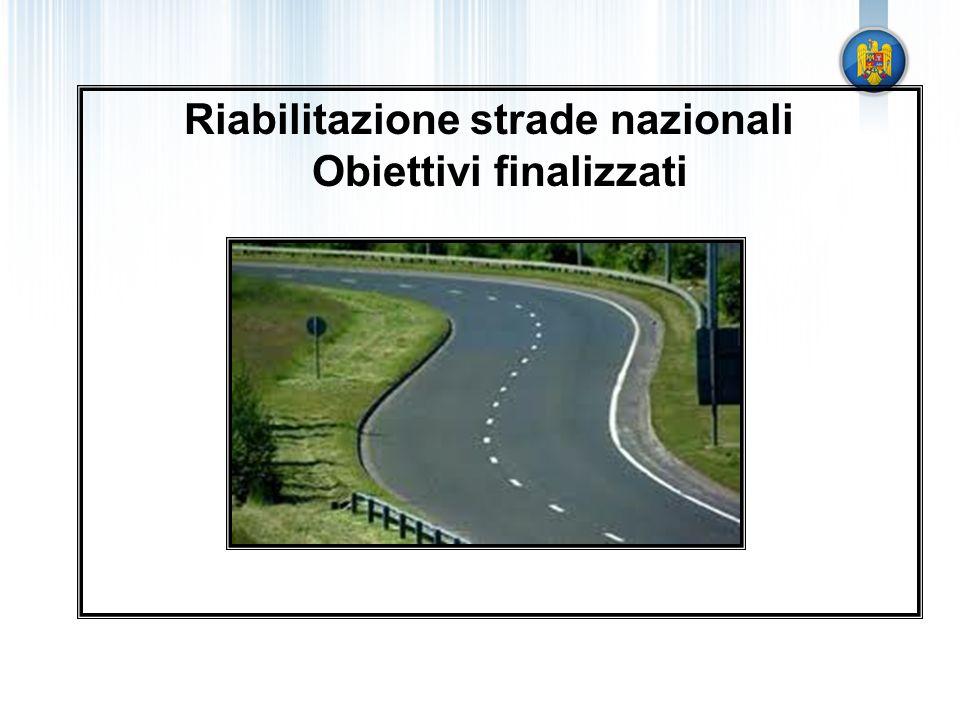 Riabilitazione strade nazionali Obiettivi finalizzati