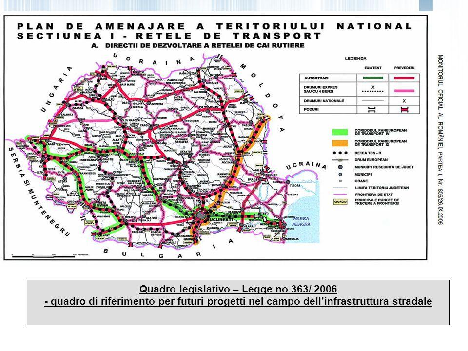Quadro legislativo – Legge no 363/ 2006 - quadro di riferimento per futuri progetti nel campo dellinfrastruttura stradale