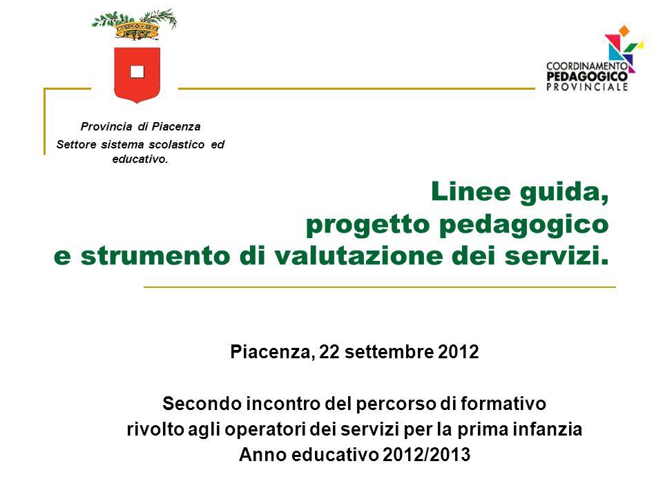Linee guida, progetto pedagogico e strumento di valutazione dei servizi. Piacenza, 22 settembre 2012 Secondo incontro del percorso di formativo rivolt