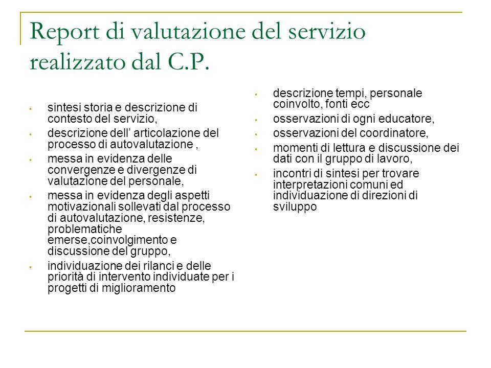 Report di valutazione del servizio realizzato dal C.P. sintesi storia e descrizione di contesto del servizio, descrizione dell articolazione del proce
